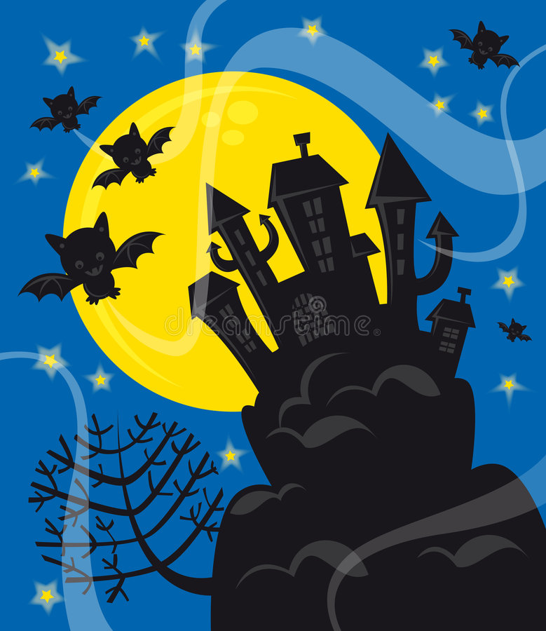 Download Halloween night stock vector. Illustration of tree, castle - 6558596