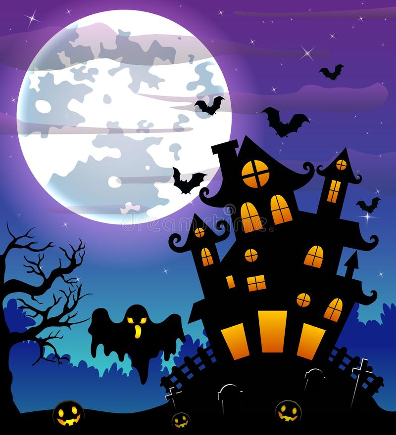Halloween night background with black ghost and pumpkins and scary castle in graveyard stock illustration
