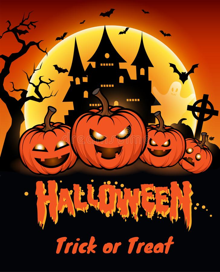 Halloween night background with full Moon, Halloween banners with pumpkins royalty free stock photo