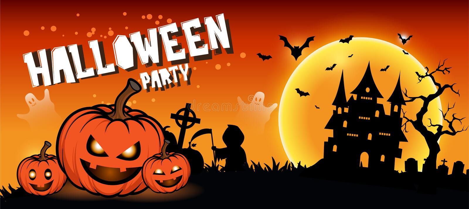 Halloween night background with full Moon, Halloween banners with pumpkins royalty free stock image