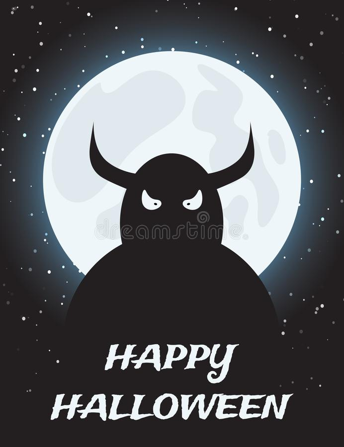 Halloween night background with moon and monster. Halloween night background with full moon and monster vector illustration