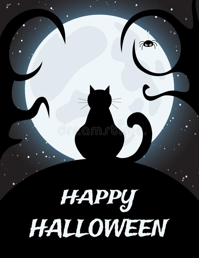 Halloween night background with full moon and monster. Halloween night background with full moon and horned monster stock illustration