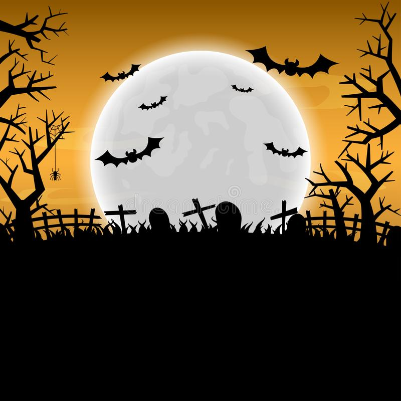 Halloween night background and full moon. space for text. vector illustration. Halloween night background and full moon. Space for text banner. Vector stock illustration
