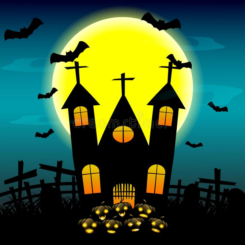 Halloween night background with haunted house and full moon.vector illustration. stock illustration