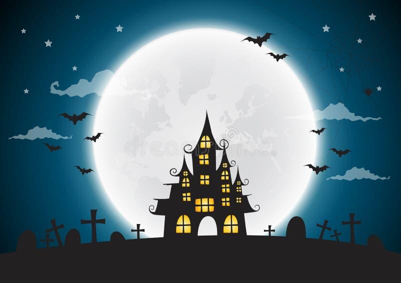 Halloween night background, haunted house and full moon. Vector illustration stock illustration