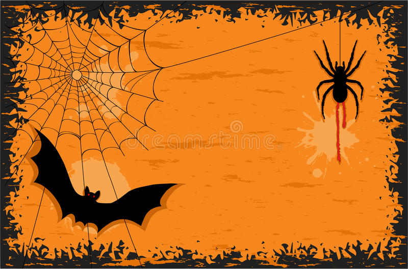 Download Halloween Night With Bat And Spider Stock Vector - Illustration of border, scary: 15936215