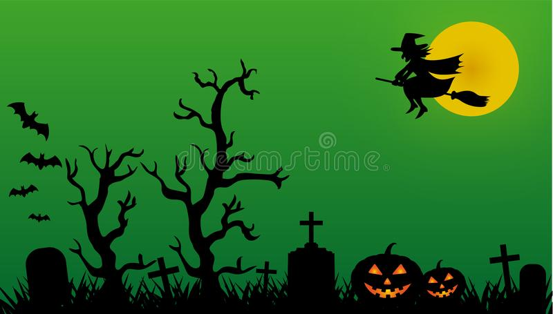 Halloween night at the cemetery with witch, bats and pumpkins royalty free illustration