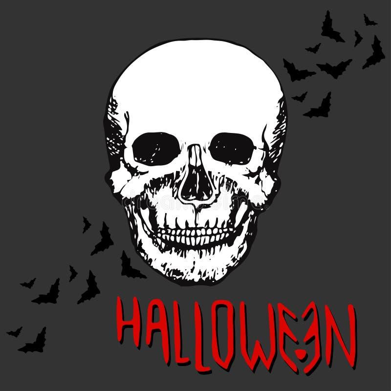 Halloween night concept poster. Skull Vector print. Halloween night concept poster. Skull Vector print royalty free illustration