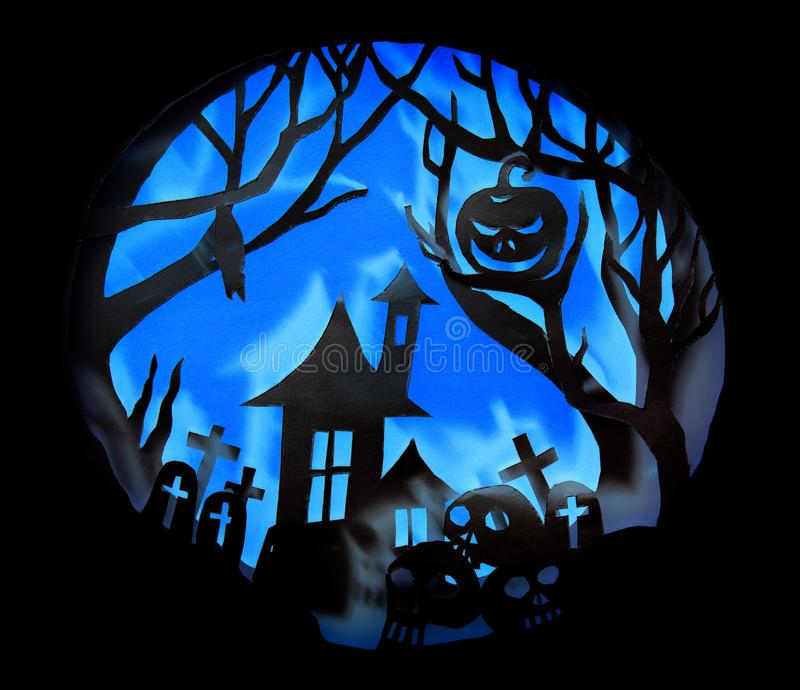 Halloween night concept, Real paper cut with invert light. And shadow royalty free stock photos