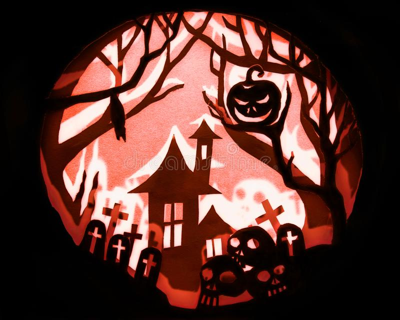 Halloween night concept, Real paper cut with invert light and sh. Adow royalty free stock image