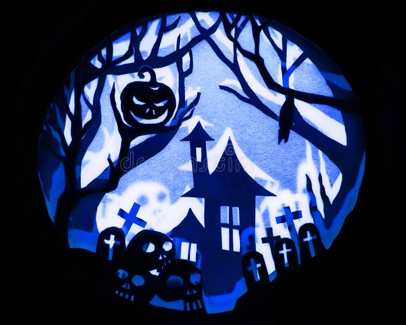 Halloween night concept, Real paper cut with invert. Light and shadow royalty free stock photos