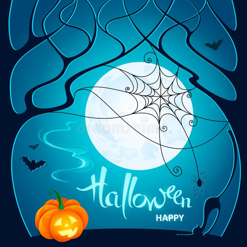 Halloween night. Dark trees, pumpkin, web with spider, bats and royalty free stock photos