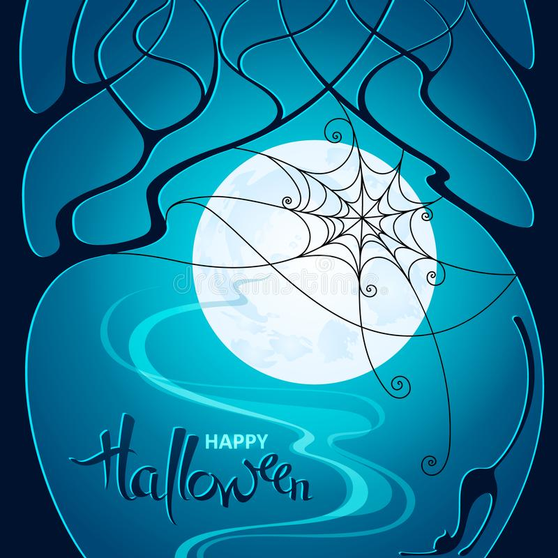 Halloween night. Dark trees, web and a cat on blue Moon background. Vector illustration for poster, greeting card, party stock photos