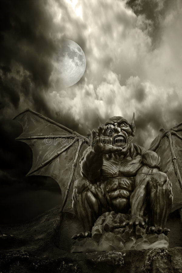 Download Halloween - Night Demon And Full Moon Stock Photo - Image: 5272394