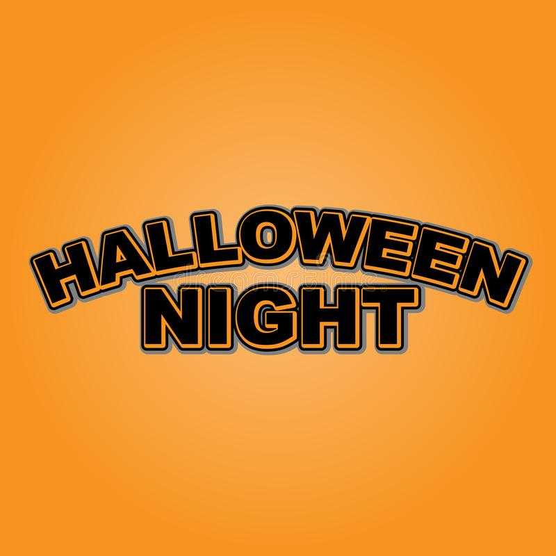 Halloween Night design vector design. Halloween Night design good for T shirt, postcards, party themes, banners orange color, black color royalty free illustration