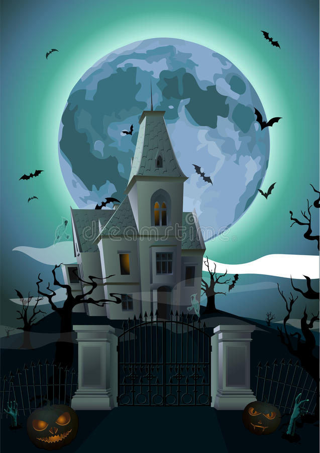 Halloween night: full moon beautiful castle chateau, gate, ghost royalty free illustration