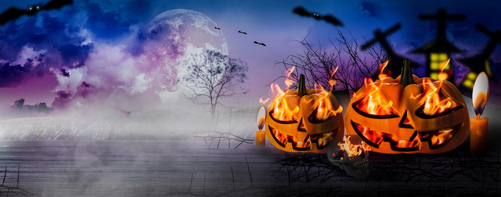 Halloween night with horrifying pumpkins and tombstones and spooky scary skeletons,wooden floor,moonlight with sky background with vector illustration