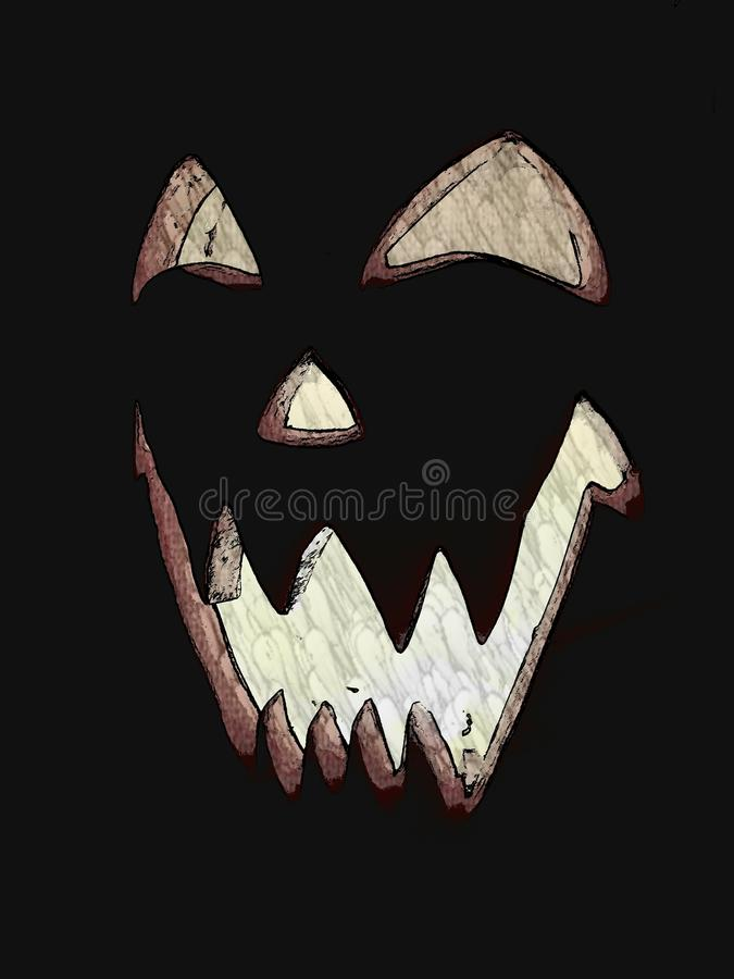 Halloween night. Jackolantern pumpkin carving candlelight Halloween face royalty free stock photography