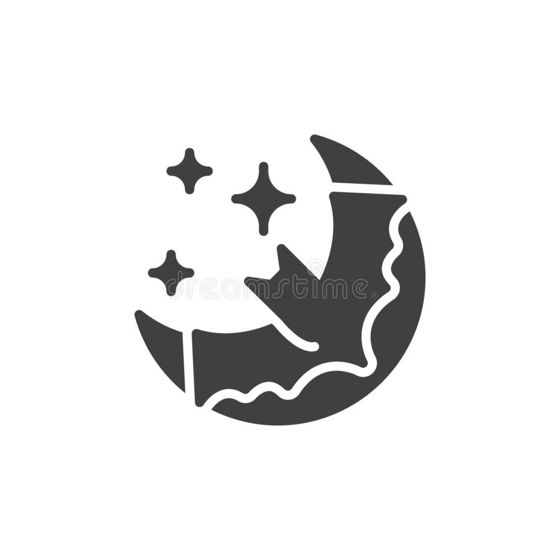 Halloween night with moon and bat vector icon. Filled flat sign for mobile concept and web design. Crescent moon and flying bat glyph icon. Symbol, logo vector illustration