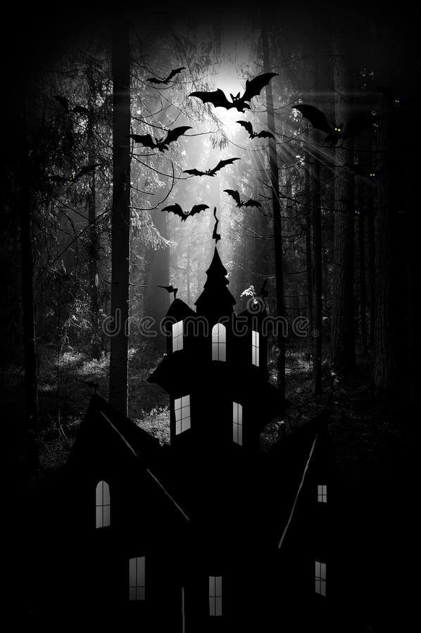 Halloween. Night. Moon, castle and bats. stock photo