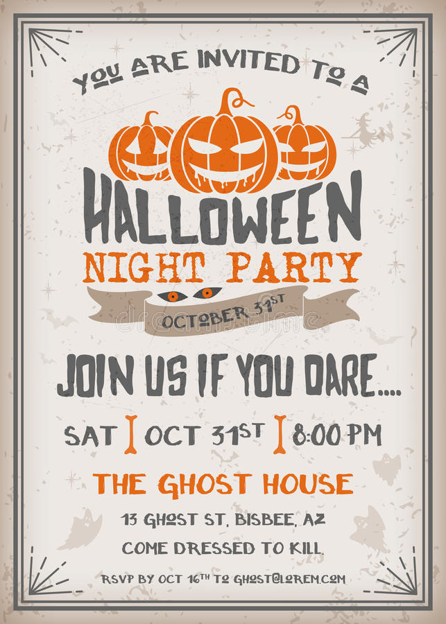 Halloween Night Party Invitation With Scary Pumpkins Design Grunge Texture Easy To Remove Vintage Background Vector Illustration