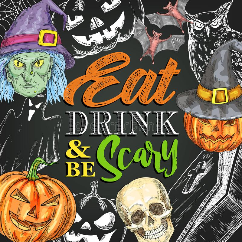 Halloween night party monster vector sketch poster vector illustration