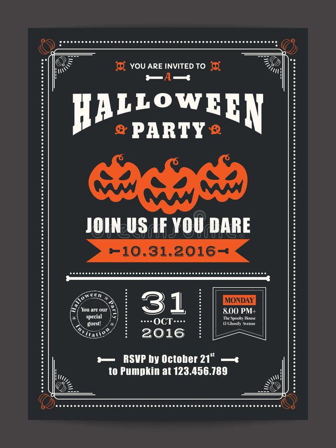 Halloween night party with scary pumpkins background for card poster flyer. Halloween night party with scary pumpkins design background for invitation card vector illustration