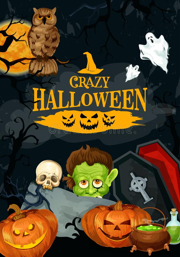 Halloween night party vector holiday poster stock illustration