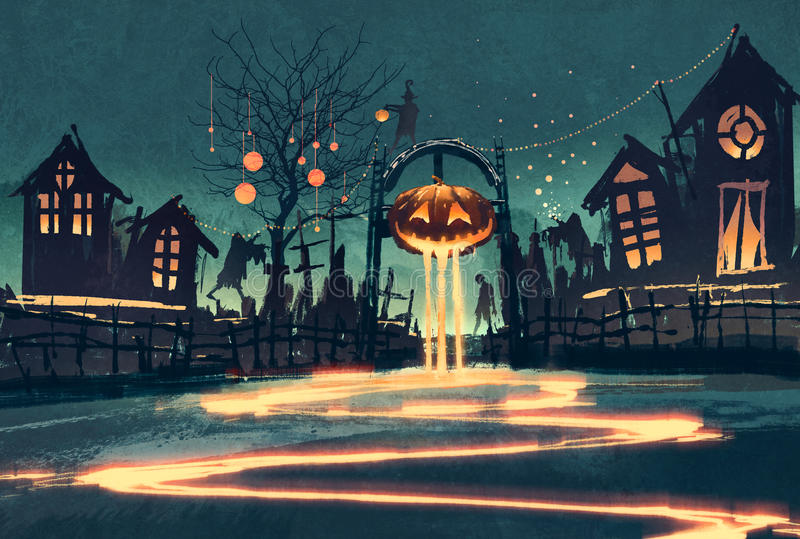 Halloween night with pumpkin and haunted houses royalty free illustration