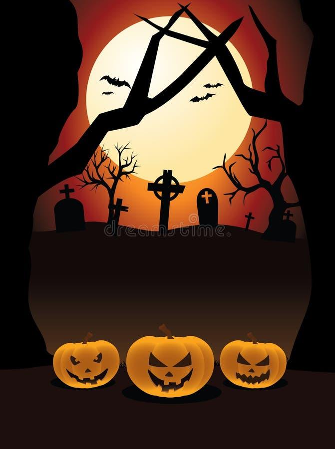 Halloween Night Pumpkins Cemetery royalty free stock photos