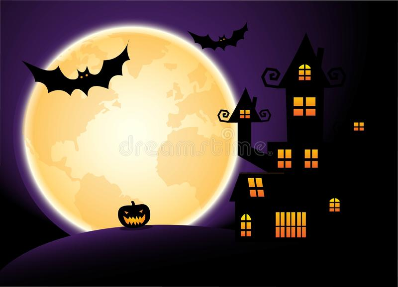 Halloween night, purple sky and full moon background royalty free illustration