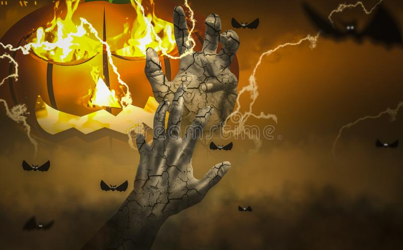 Halloween night scare hazy, haunted atmosphere, with zombie hands, Protruding from tomb in cemetery. Sky background with flying bats and lightning bolts vector illustration