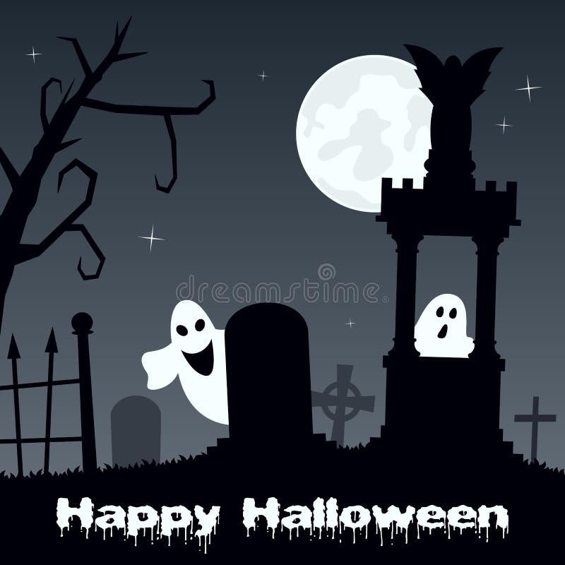 Halloween Night - Scary Cemetery & Ghosts stock illustration