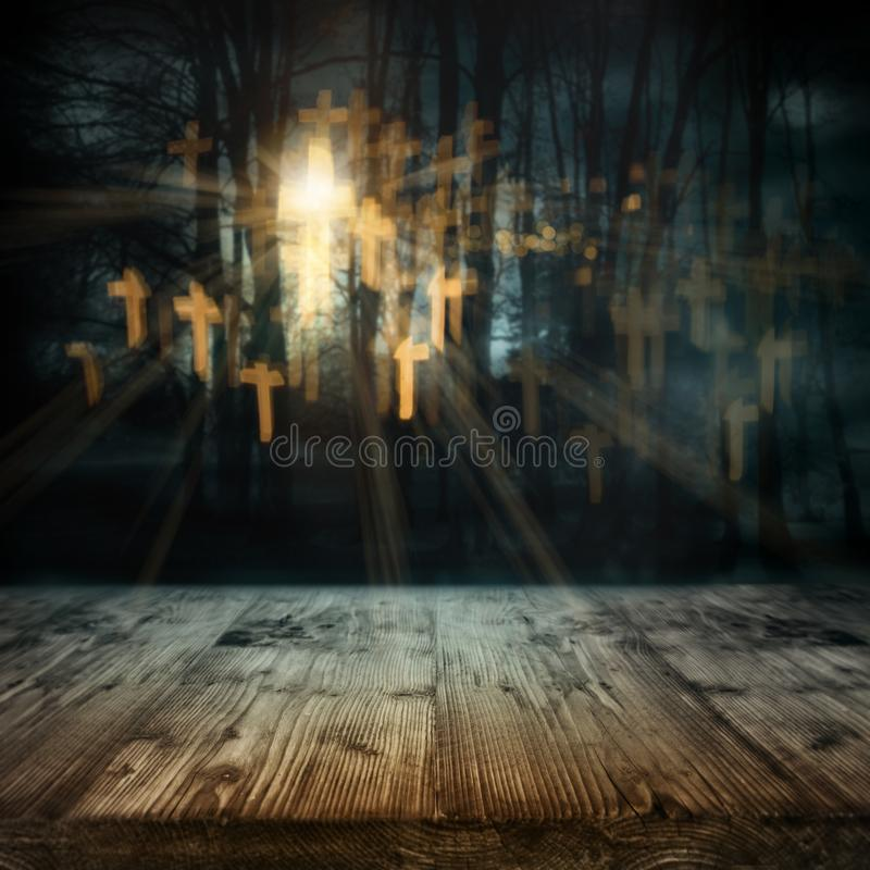 Halloween night scene with abstract crucifix. And old wooden planks for a decoration royalty free stock photos