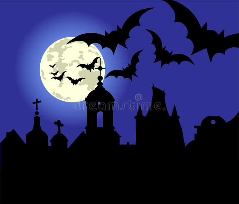 Halloween Night In The Town Stock Image
