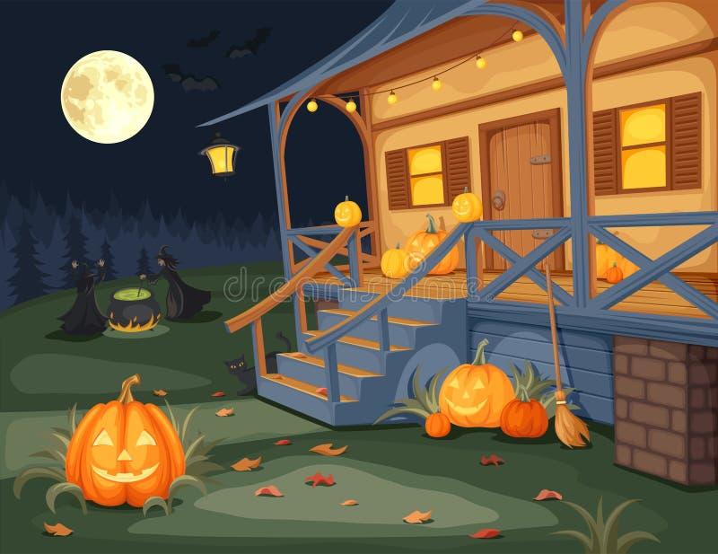 Halloween night. Vector illustration. royalty free illustration