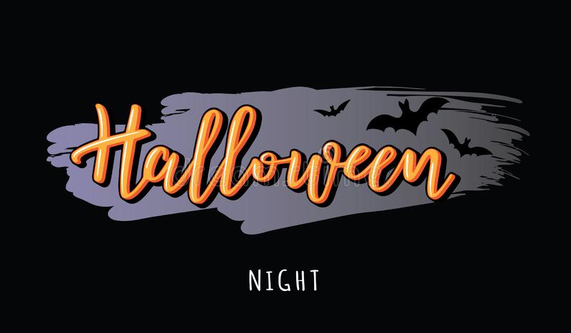Halloween night vector lettering with bats. Halloween night vector lettering with bats for banner, poster, greeting card, party invitation royalty free illustration