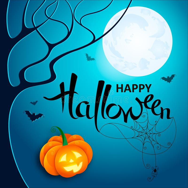 Halloween night. Vector lettering Happy Halloween with web, spider and bats on blue Moon background with pumpkin. Vector stock photos