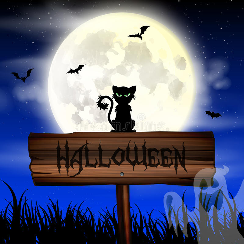 Halloween night wallpaper with cat and full moon royalty free stock images
