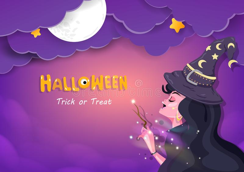 Halloween night, witch and magic, bedtime sweet dream greeting card concept, invitation poster vector background illustration. Halloween, witch and magic royalty free illustration