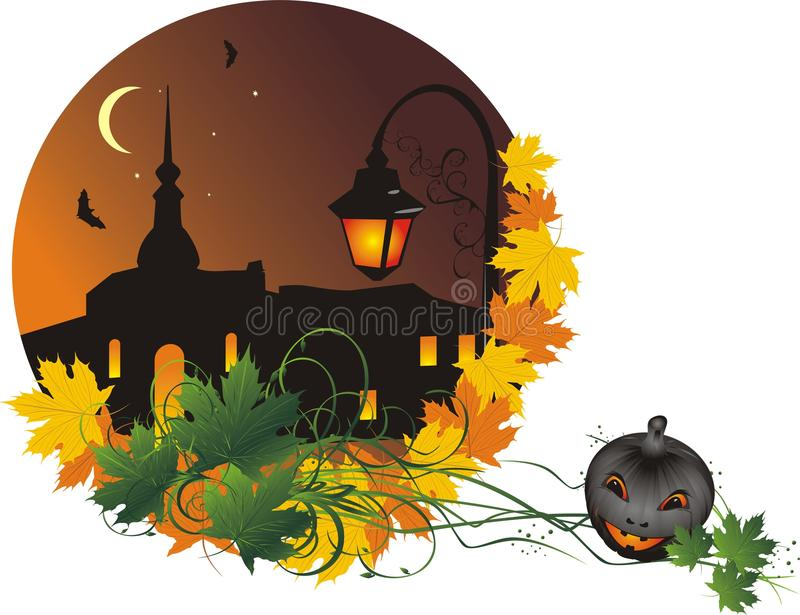 Halloween. Nightly city. Abstract composition vector illustration
