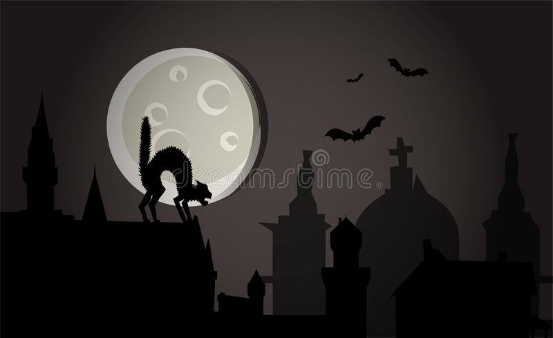halloween noc miasteczka wektor ilustracji