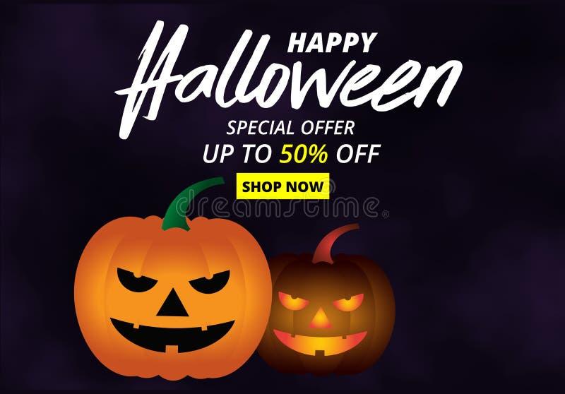 Halloween nocne tło z dynią, ulotką lub szablonem zaproszenia do promocji sprzedaży na Halloween ilustracji