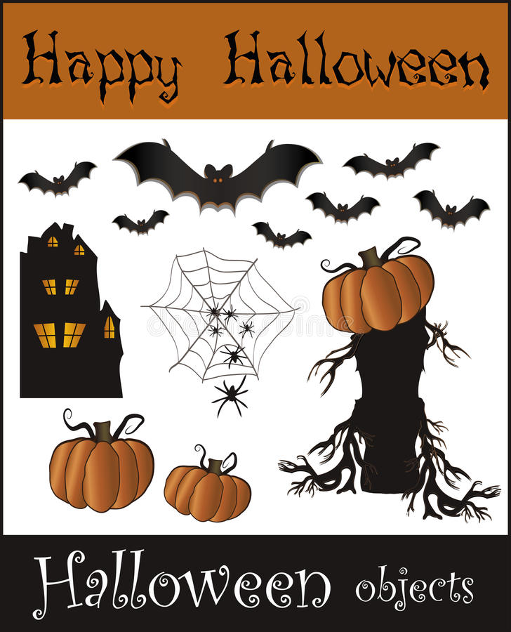 Download Halloween Objects - Bat Pumpkin Spider Web House T Stock Photo - Image: 20754470