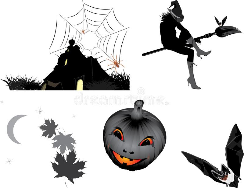 Download Halloween Objects For Design Stock Vector - Illustration of holiday, broom: 16411261