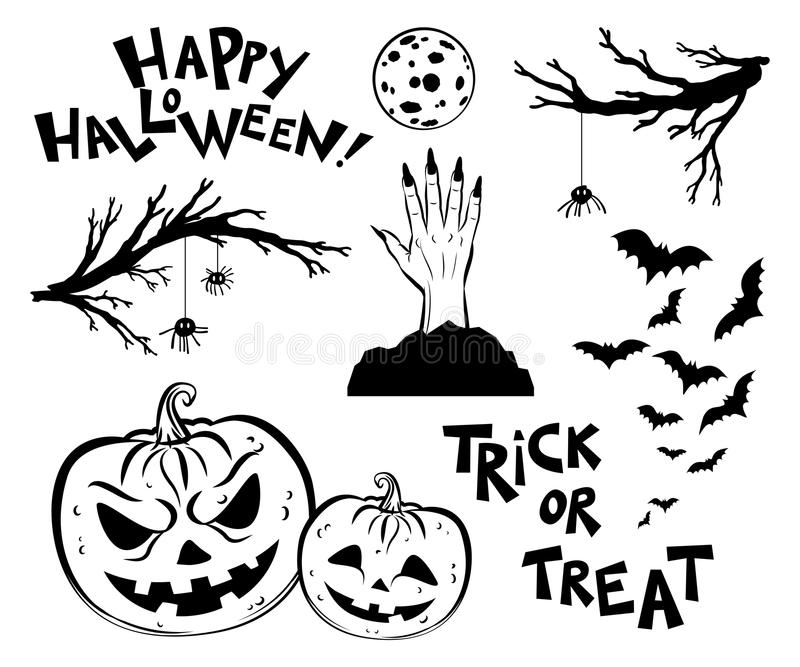 Halloween objects. Scary tree twigs, bats and pumpkin lanterns. Halloween objects. Scary tree twigs, bats, pumpkin lanterns, moon, phrases and witches hand royalty free illustration