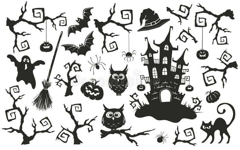 Halloween objects set stock image