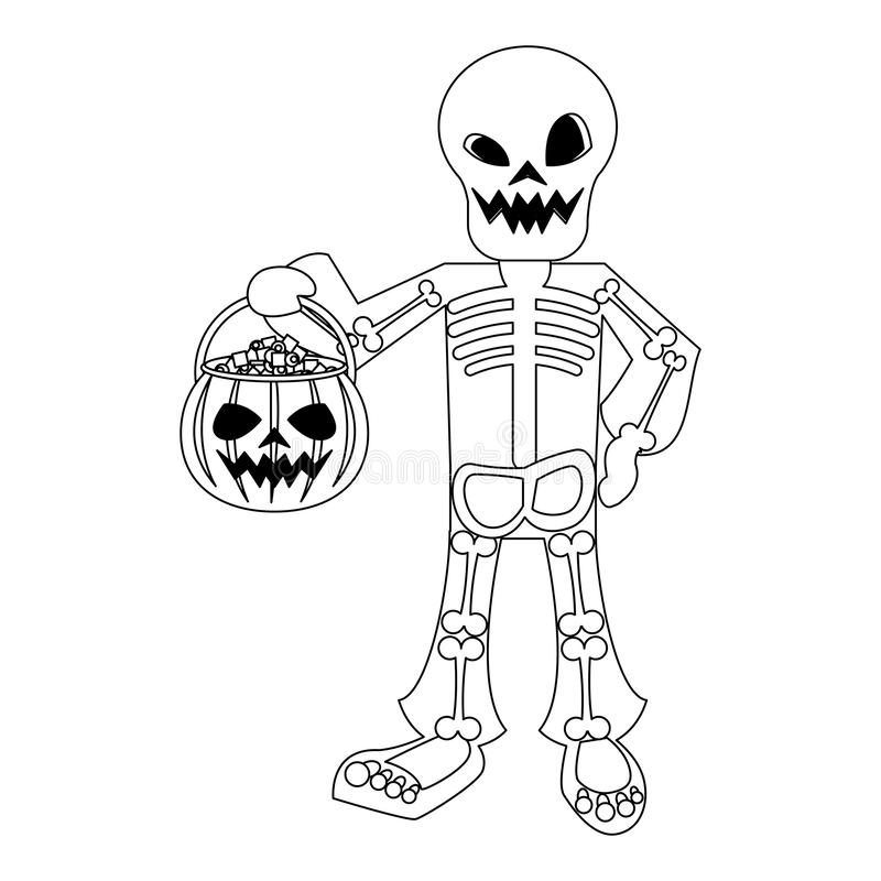 Halloween october scary celebration cartoon in black and white. Halloween october scary celebrationm skull death man holding pumpkin candys pot cartoon vector stock illustration