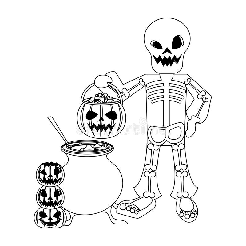 Halloween october scary celebration cartoon in black and white. Halloween october scary celebrationm skull death man holding pumpkin candys pot cartoon vector royalty free illustration