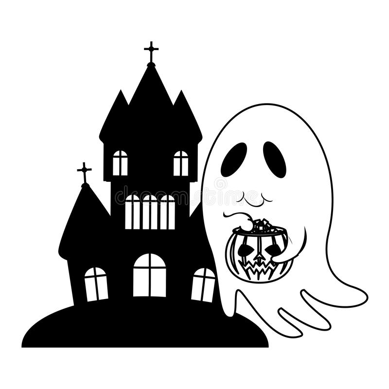 Halloween october scary celebration cartoon in black and white. Halloween october scary celebration ghost with pumpkin candys pot in front dark house isolated vector illustration